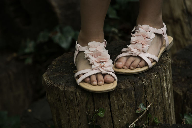 Low section of girl wearing floral sandals standing on tree stump