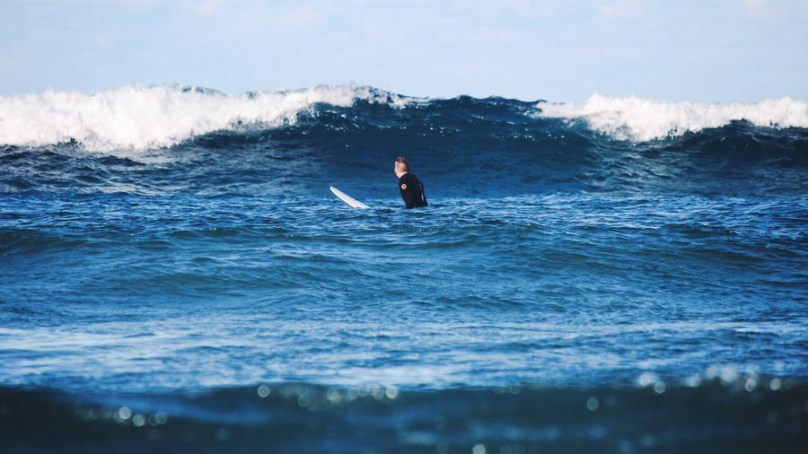 Wave Lookingup Sea Water Adventure Surfing Surf One Person Leisure Activity Extreme Sports Outdoors Sky Blue Tower Photography Photographer EyeEm Best Shots EyeEmBestPics EyeEm Gallery EyeEm Canon Travel Sea Life Men Australia