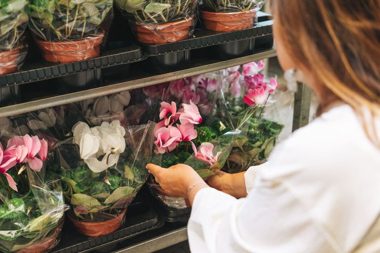 Brunette middle aged woman in white dress buys pink flower potted house plants at garden store