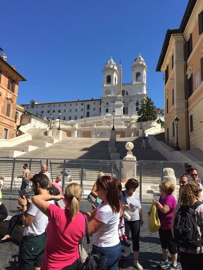Piazza Di Spagna Spanish Steps, Rome Italy Architecture Travel Destinations Building Exterior Built Structure Large Group Of People Outdoors Clear Sky Cityscape Under Reconstruction Human Life Travel Crowded People
