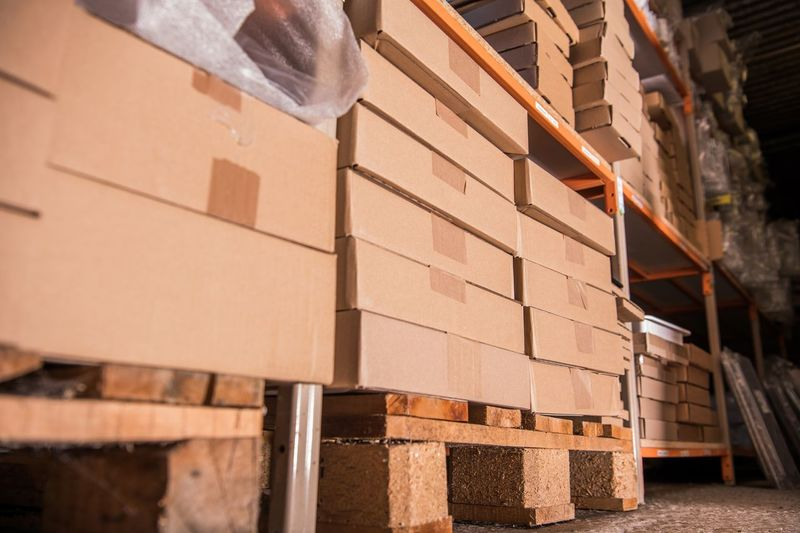 Stack of cardboard boxes in warehouse