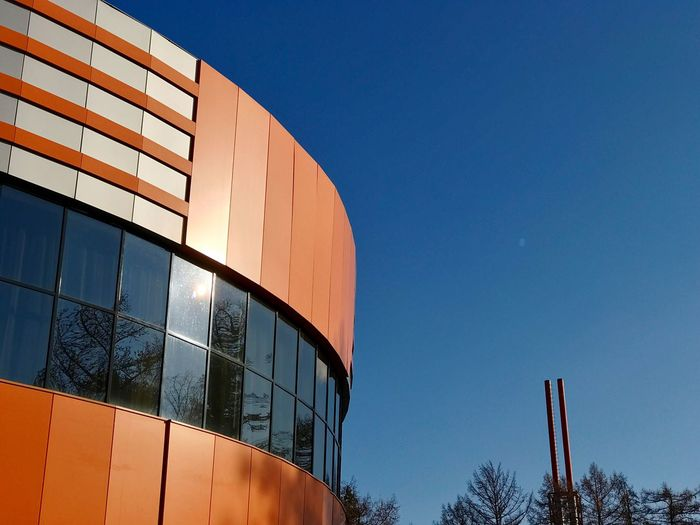 Architecture Building Exterior Clear Sky Built Structure Modern Blue Low Angle View No People Outdoors Sky Day Orange Orange Color Hotel Abzakovo Magnitogorsk Winter Sunny Spring Springtime Window IPhone7Plus Shotoniphone7plus