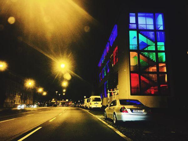Transportation Motor Vehicle Car Land Vehicle Illuminated Mode Of Transportation Architecture Night City Road