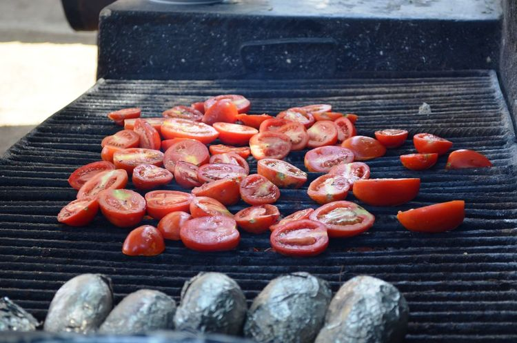 Grilled Tomatoes Tomato Red Tomatoes Sliced Grilled Cuisine Gastronomy Cooking Outside Gastronomía Jitomate Asador Mexico Close-up Food And Drink Barbecue Grill Grilled