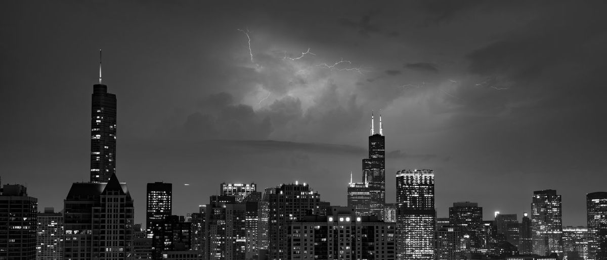 Chicago Skyline Lightning Lightning Storm Storm Chicago Skyline Chicago Architecture Illinois City Night Night Lights Building Skyscraper Sky Tower Modern Office Spire  Illuminated