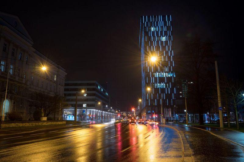 City Lights Night Lights main street near the main station in Linz Cities At Night