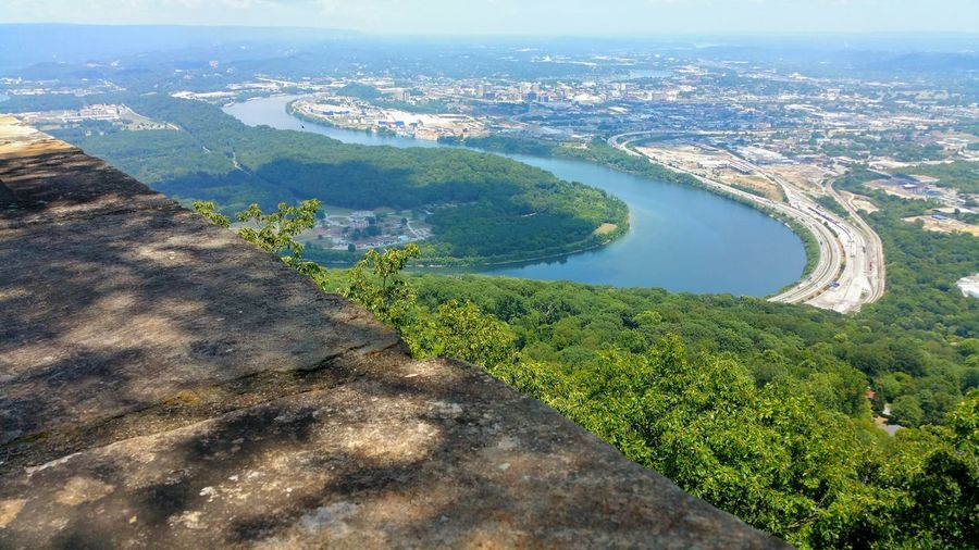 High angle view of city by tennessee river
