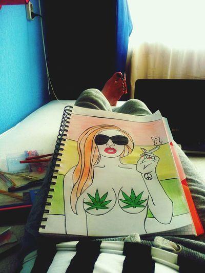 My new hobby Art & Marijuana Girl Drawing Painting