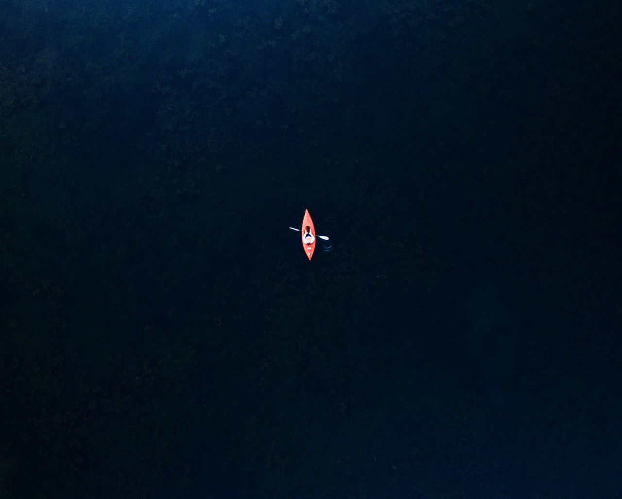 Directly Above Shot Of Person Canoeing On Sea