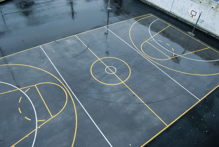 High angle view of wet basketball court