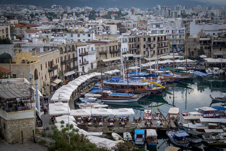 The beautiful Kyrenia harbor, North Cyprus Cyprus Girne Kyrenia Travel Architecture Building Building Exterior Built Structure City Cityscape Day Harbor High Angle View Island Marina Mode Of Transportation Moored Nautical Vessel Outdoors Port Residential District Sailboat Transportation Travel Water