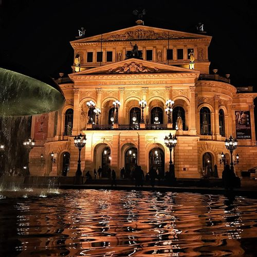 Night Architectural Column Water Architecture Arch Building Exterior Built Structure Illuminated Outdoors Statue No People Sky Alte Oper Von Frankfurt Alte Oper Opera House EyeEmNewHere EyeEmNewHere Visual Creativity