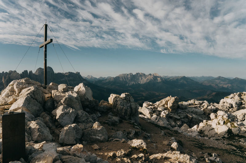 Mountain Peak Cross Cross On The Mountain Dolomites, Italy Dolomites Italy Rocks Hiking Alpe Di Siusi Mountain Rock Sky Rock - Object Cloud - Sky Solid Scenics - Nature Environment Mountain Range Beauty In Nature Tranquil Scene Nature Tranquility No People Non-urban Scene Landscape Day Outdoors Rock Formation Formation