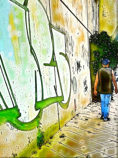Wall Portrait From Behind Wall Art Street Life Street Photo Edited Photography Art Photography Street Photography City Street City Life Showcase July Summertime Walking Alone... EyeEm Best Edits My Style My City Edited Graffiti Graffiti Wall People_collection Galaxy S7 Edge