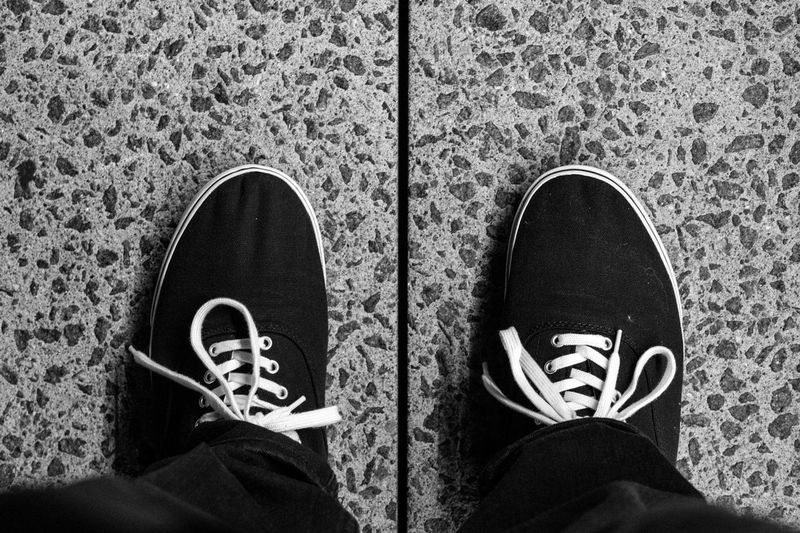 Bipedal and Bilateral. Black And White Photography Monochrome LINE Texture Footwear Sneakers Laces White Sony A6000 Project365