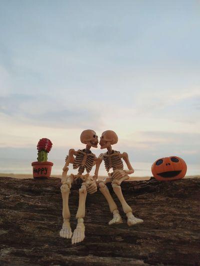 Artificial skeleton on wood against sky
