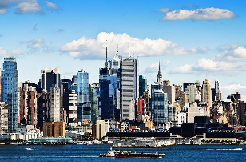 new york city skyline over hudson river, america usa. new york city landmarks. America Cityscape Hudson River New York New York City New York Skyline  New York Skyline  New York Skyscrapers New York ❤ No People Outdoors Sky Skyline New York