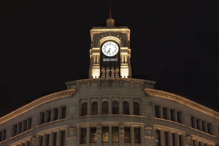銀座和光ビル Industar61 Oldlens Sonynex7 Night Lights Nightphotography Tokyo Ginza Architecture Built Structure Building Exterior Clock Time Clock Tower No People Low Angle View Night Illuminated City