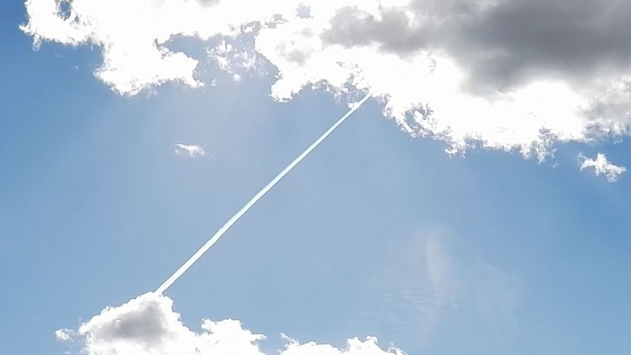 Airshow Beauty In Nature Blue Cloud - Sky Clouds Contrail Day Low Angle View Nature No People Outdoors Scenics Sky Slipstream Space Sun Trail Vapor Trail Vaportrail Vapourtrail White Color Go Higher