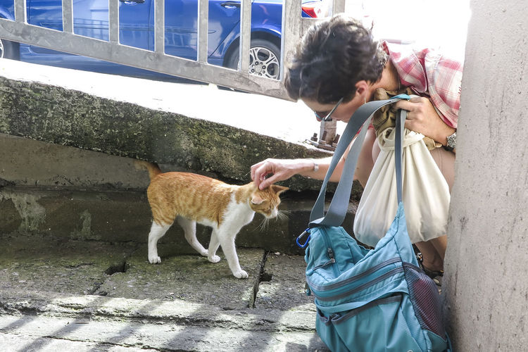 High Angle View Of Woman Petting Stray Cat On Footpath