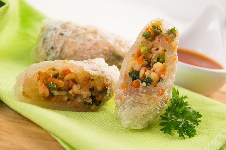 Close-up of spring rolls