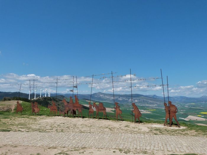 CaminodeSantiago Clouds And Sky Hills Road Sculptures SPAIN Symbols View Way