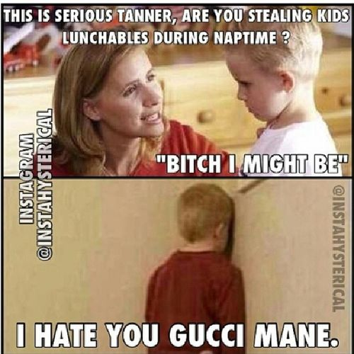 haha got the little kids sayin it Guccimane  Bitchimightbe LMAO Lmaobruh instahysterical hilarious tagfortags like4likes timeout badasskid tweegram repost