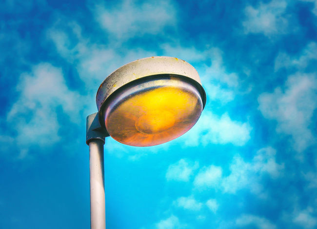 The simple light ArtWork Fine Art Photography Light Park Lamp Street Lamp Art Ball Blue Close-up Cloud - Sky Colored Background Day Electricity  Focus On Foreground Food And Drink Illuminated Lighting Equipment Low Angle View Metal Nature No People Outdoors Reflection Single Object Sky Sphere Sunlight Yellow