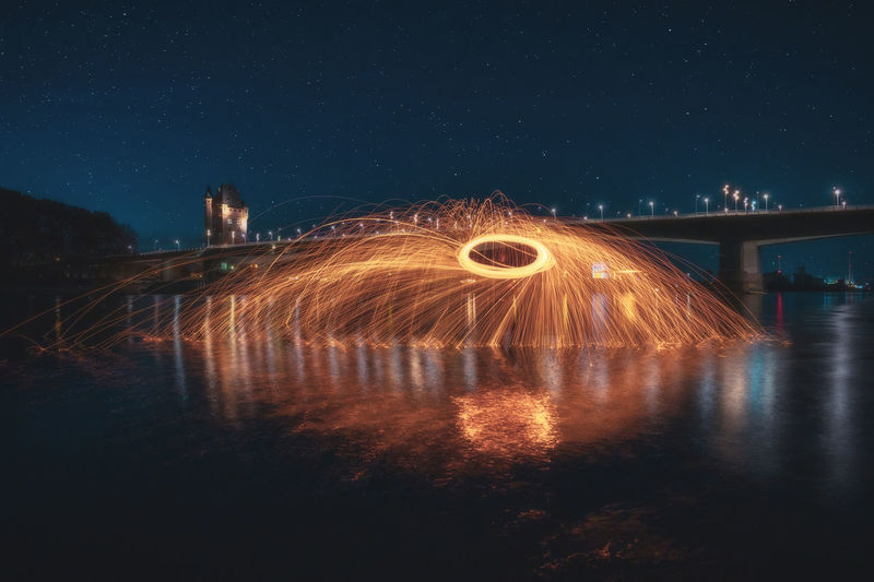 Steel wool photography in the river rhine