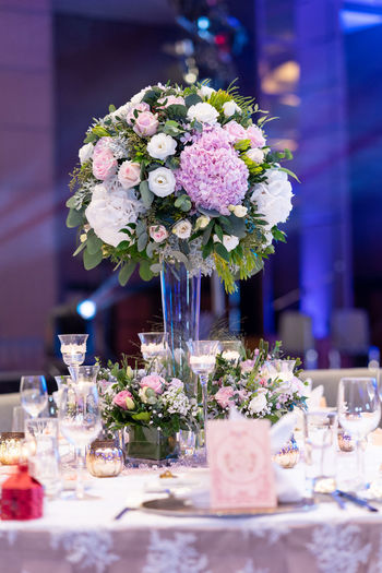 Arrangement Beauty In Nature Bouquet Bunch Of Flowers Celebration Decoration Dinner Event Flower Flower Arrangement Flower Head Flowering Plant Fragility Freshness Glass Nature No People Plant Selective Focus Setting Table Vase Wedding Wedding Ceremony Wedding Reception