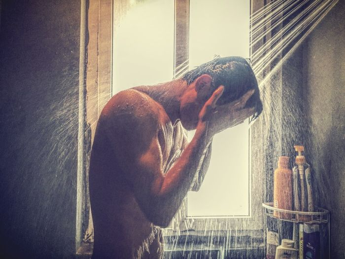 Take Shower Shower Time Shower Showering Men Muscles Indoors  Nakedmen Naked_art Washing Hair