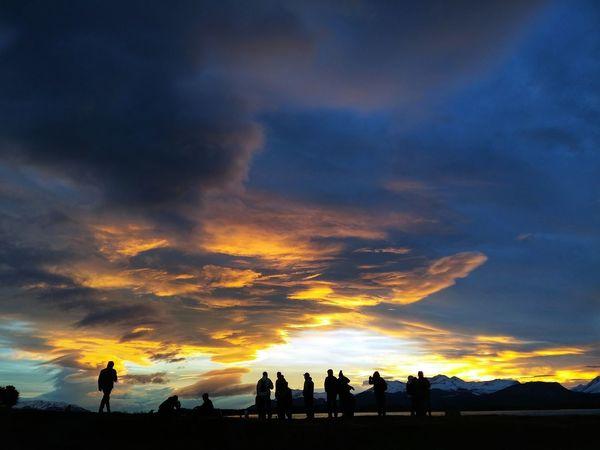 Group Of People Amazing Sunset Ushuaia Argentina Sky