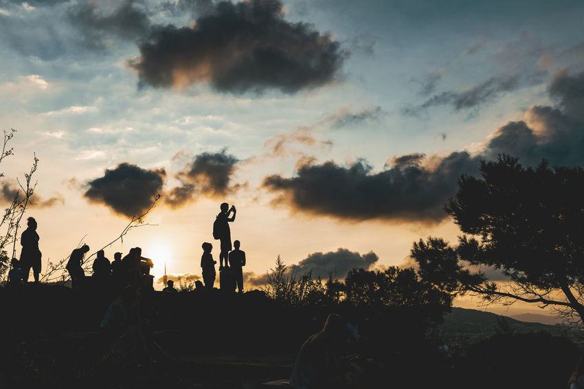 Beauty In Nature Cloud - Sky Group Of People Human Representation Leisure Activity Lifestyles Men Nature Outdoors People Plant Real People Representation Scenics - Nature Sculpture Silhouette Sky Sunset Tranquil Scene Tree My Best Travel Photo Capture Tomorrow