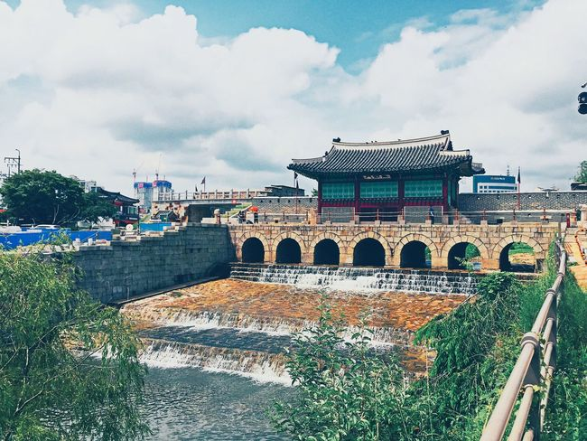 South Korea Suwon, Korea Suwon Hwaseong Fortress Cityscape Landscape Outdoors Nature Sky Tree River Riverwalk