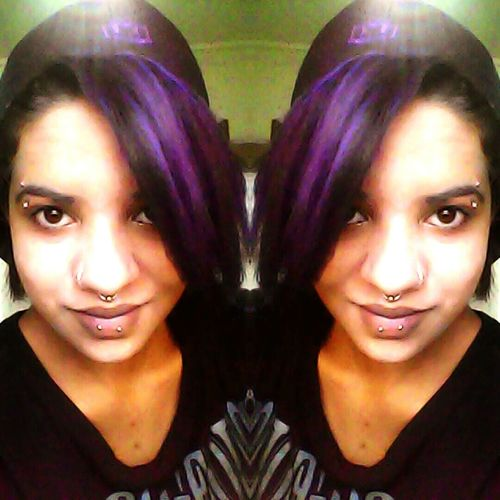 Relaxing That's Me Enjoying Life I Don't Care, I Love It Peircings That's Me Purplehairdontcare Pretty Brown Eyes Taking Photos Hello World