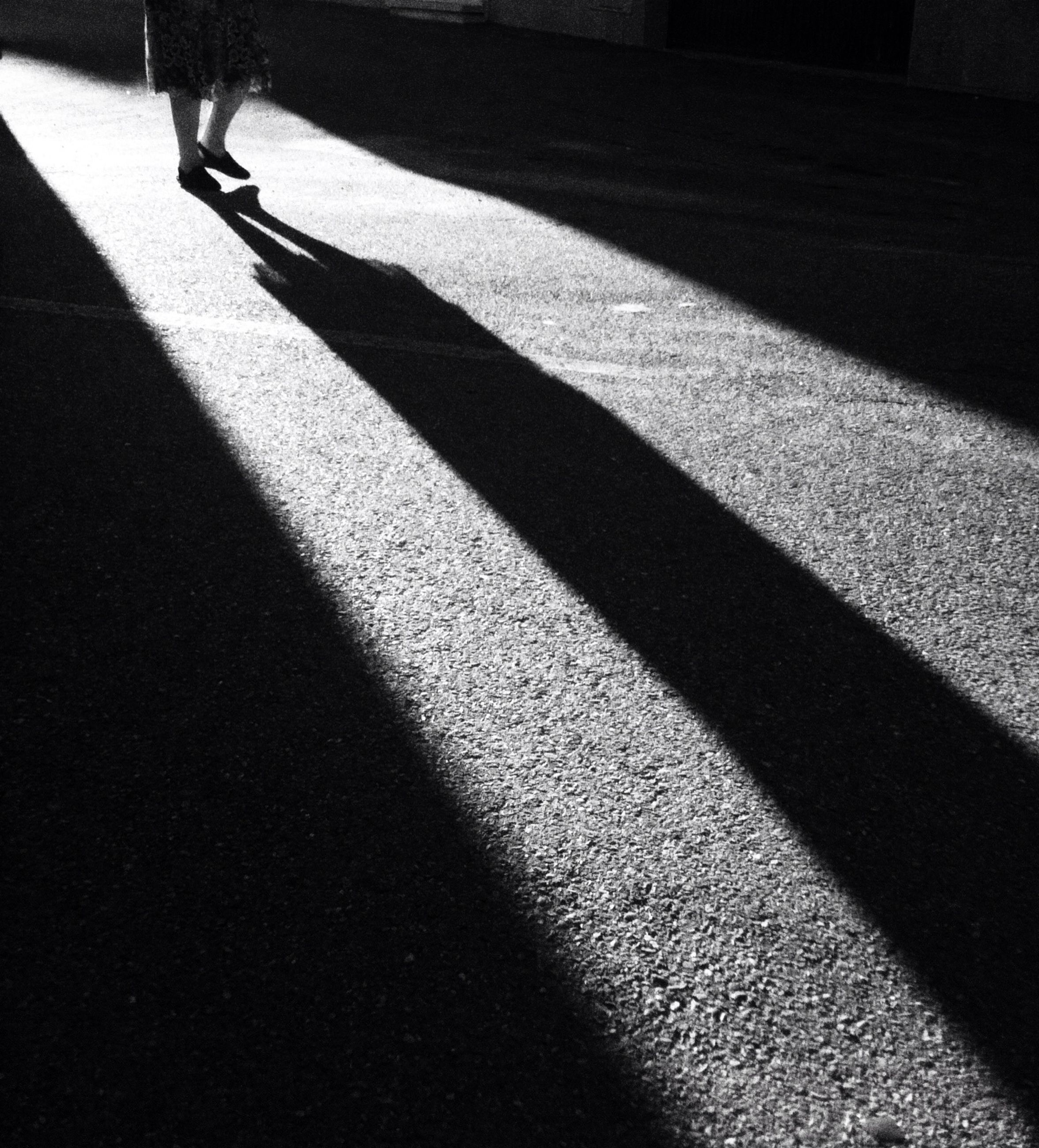 shadow, sunlight, street, high angle view, focus on shadow, road, road marking, walking, sidewalk, men, outdoors, day, zebra crossing, unrecognizable person, transportation, footpath, tiled floor, sunny