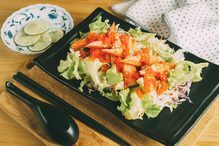 KANI Salad Close-up Day Food Food And Drink Freshness Healthy Eating Indoors  No People Plate Ready-to-eat Salad Table