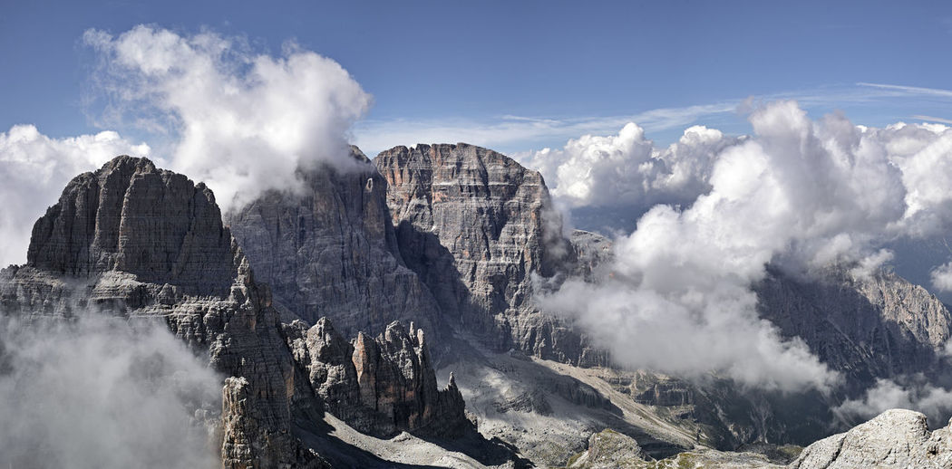 Panoramic view of majestic mountains against sky