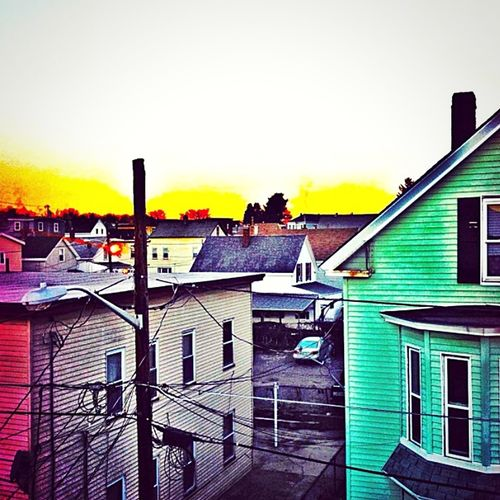 colorful neighborhood 🎨 Colorful Buildings Sunset_captures Lowell, MA Back Central Portugal Azores Islands Mill City City Sunset Sky Architecture Building Exterior Built Structure