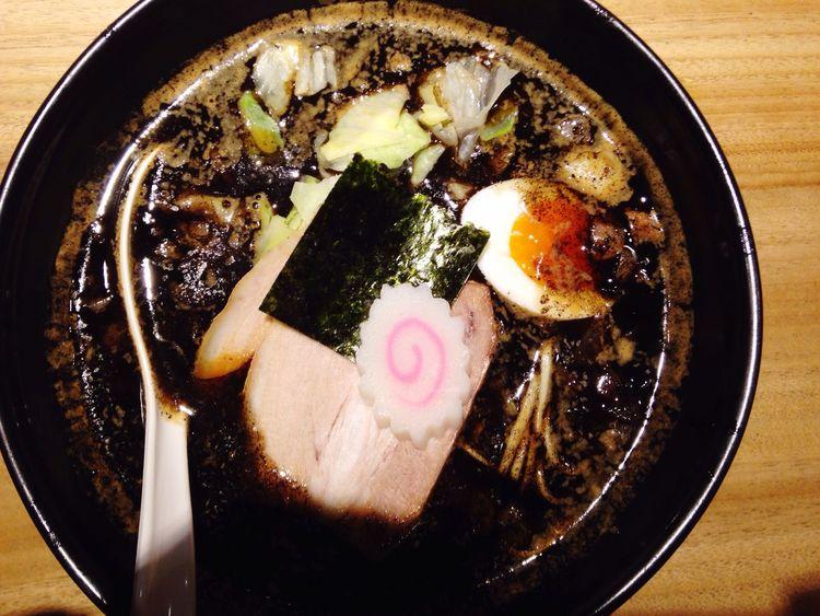 Black ramen Ramen Black Soup Top Shot Top View Hot Ramen Dinner Nice Bowl Too Big Burnt Ramen Kyoto Japan