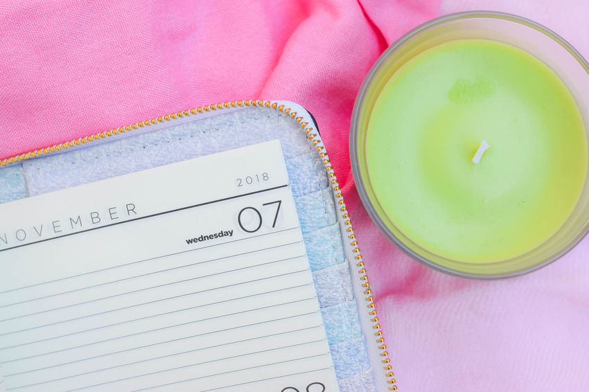 © www.rodiphotography.com Pink Pink Color Candle Candlelight Green Green Color Notebook Notebooks  Notebook Paper Fay Daily Life Month Year 2018 Calendar Time Healthcare And Medicine Pink Color Directly Above