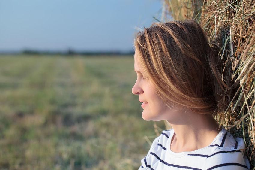 Bale  Beautiful Caucasian Close Countryside Eyes Female Field Girl Hay Meditative Portrait Rest Roll Straw Summer Woman