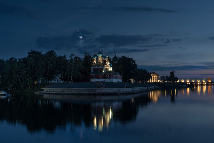 Russia, Uglich, Kremlin, Kremlin views Architecture Built Structure City Cloud Cloud - Sky Cloudy Illuminated Nature Night No People Outdoors Reflection River Russia, Uglich, Kremlin, Kremlin Views Sky Standing Water Tourism Tranquility Travel Destinations Tree Water Waterfront