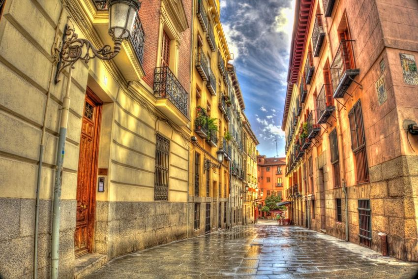 Colorful streets in Madrid Madrid Hdr_Collection HDR Architecture Building Exterior Built Structure Alley City The Way Forward Outdoors No People Road Day City Architecture Cityscape City Street Road