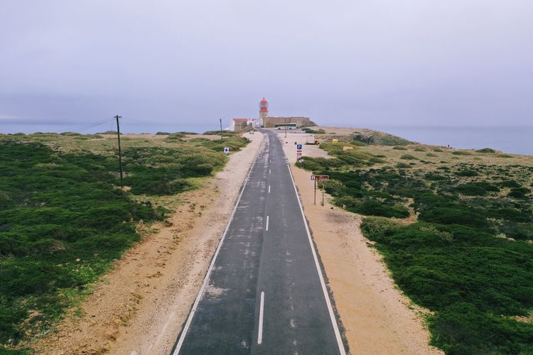 High angle view of road leading towards lighthouse