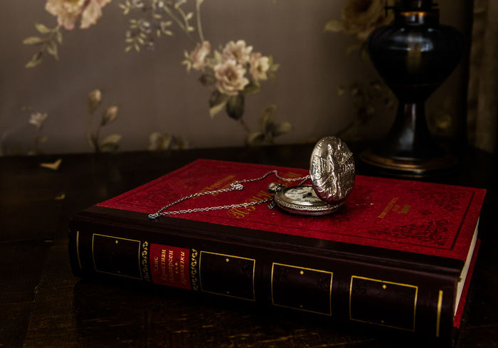Pocket Watch Antique Book Close-up Day Indoors  Literature No People Old-fashioned Red Table Kardzhali