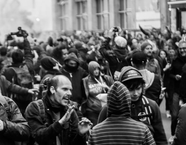 Protest may the first Angry Berlin Black Communism Crow Large Group Of People People Protest Real People S Smoke Street Striped The Photojournalist - 2017 EyeEm Awards