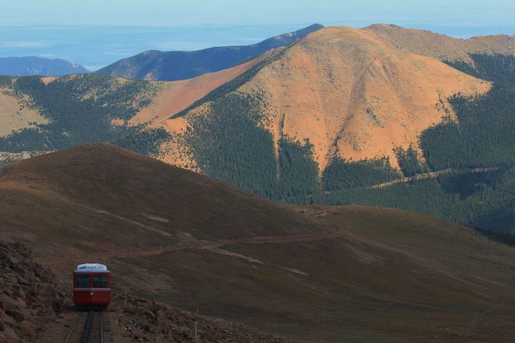 Going up Pike's in a Cog Train!! Bright Pike's Peak Red Beauty In Nature Cog Track's Cog Train Colorful Day Landscape Mountain Mountain Range Nature No People Outdoors Rocky Mountain's Scenics Sky Tranquil Scene Tranquility White