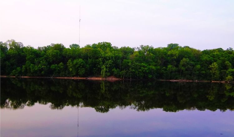 reflections off the Mississippi river Beauty In Nature Calm Day Green Color Growth Idyllic Lake Majestic Nature No People Non Urban Scene Non-urban Scene Outdoors Reflection Remote Scenics Sky Standing Water Symmetry Tabphotography Tranquil Scene Tranquility Tree Water Waterfront