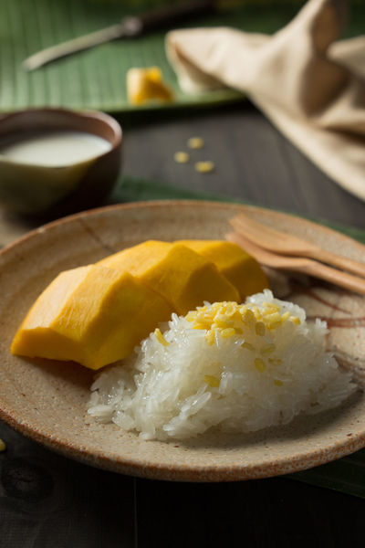 Banana Leaf Coconut Milk Cuisine Day Food Food And Drink Freshness Healthy Eating Indoors  Mangoes No People Ready-to-eat Sticky Rice Sticky Rice & Mango Sticky Rice With Mango Thai Food Good Taste Thai Food Style Thai Foods